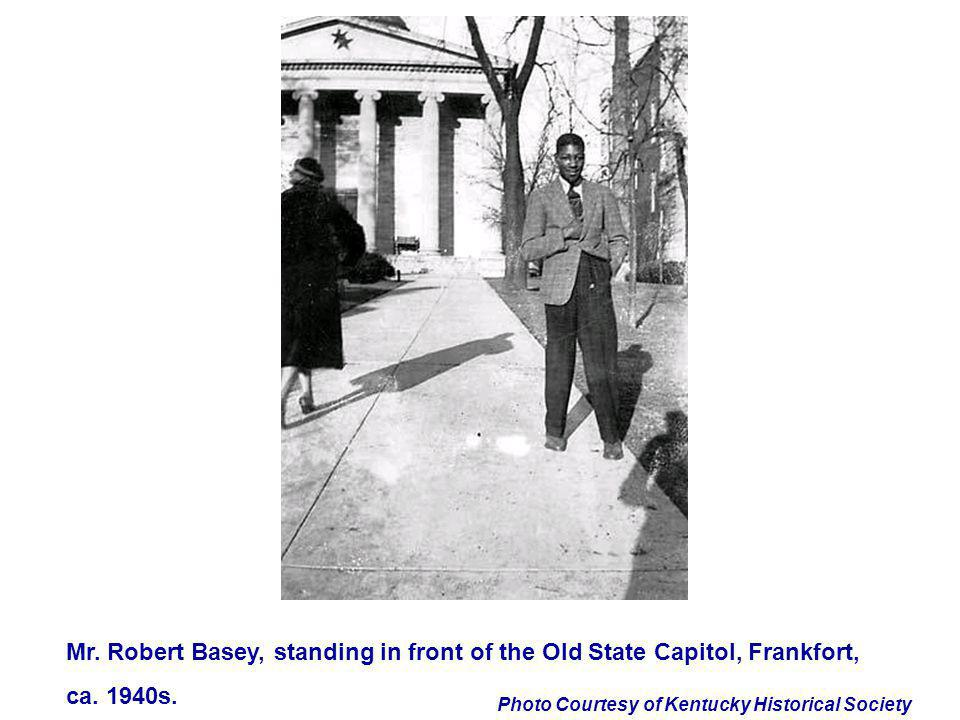 Mr. Robert Basey, standing in front of the Old State Capitol, Frankfort,