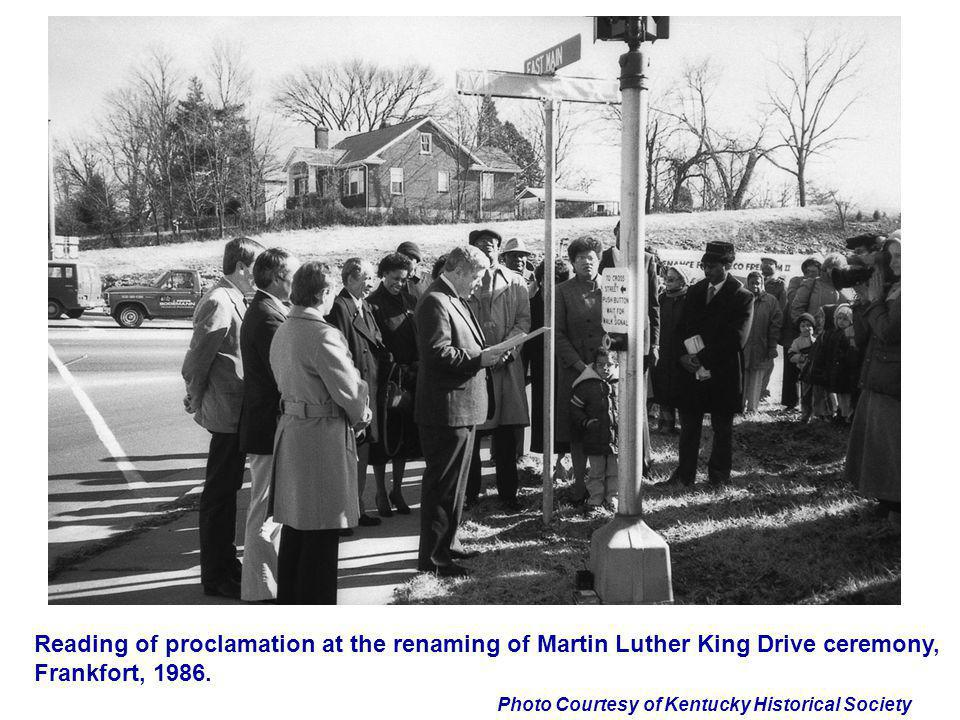Reading of proclamation at the renaming of Martin Luther King Drive ceremony, Frankfort, 1986.