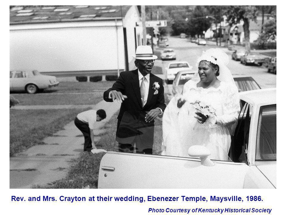 Rev. and Mrs. Crayton at their wedding, Ebenezer Temple, Maysville, 1986.