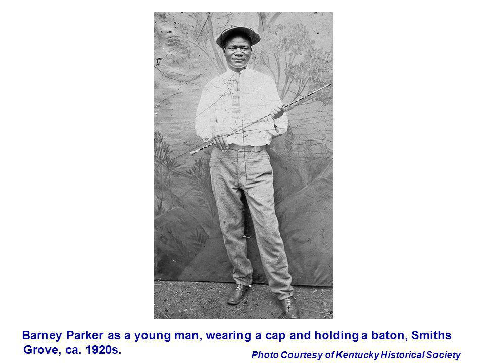 Barney Parker as a young man, wearing a cap and holding a baton, Smiths Grove, ca. 1920s.