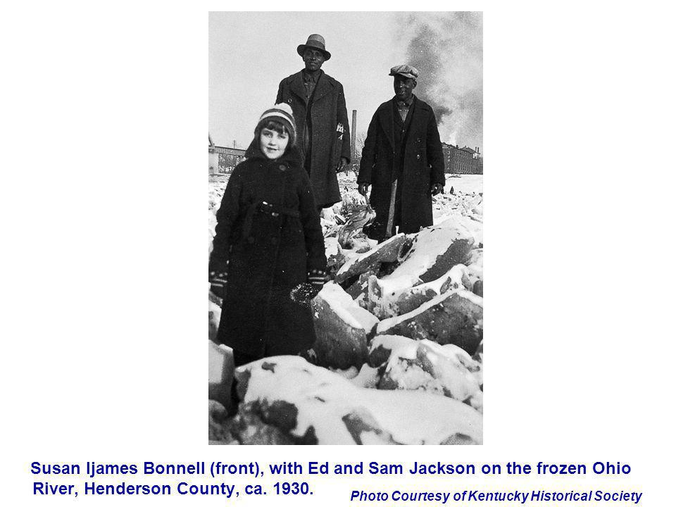 Susan Ijames Bonnell (front), with Ed and Sam Jackson on the frozen Ohio River, Henderson County, ca.
