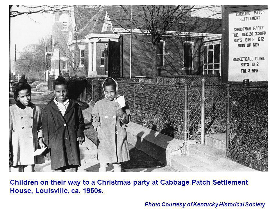 Children on their way to a Christmas party at Cabbage Patch Settlement House, Louisville, ca. 1950s.