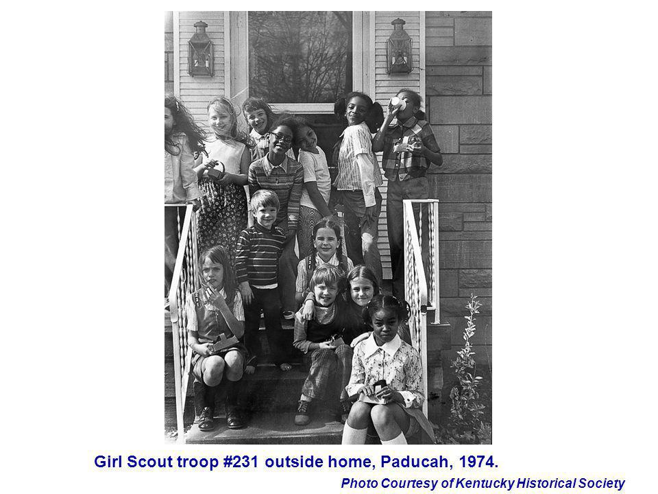 Girl Scout troop #231 outside home, Paducah, 1974.