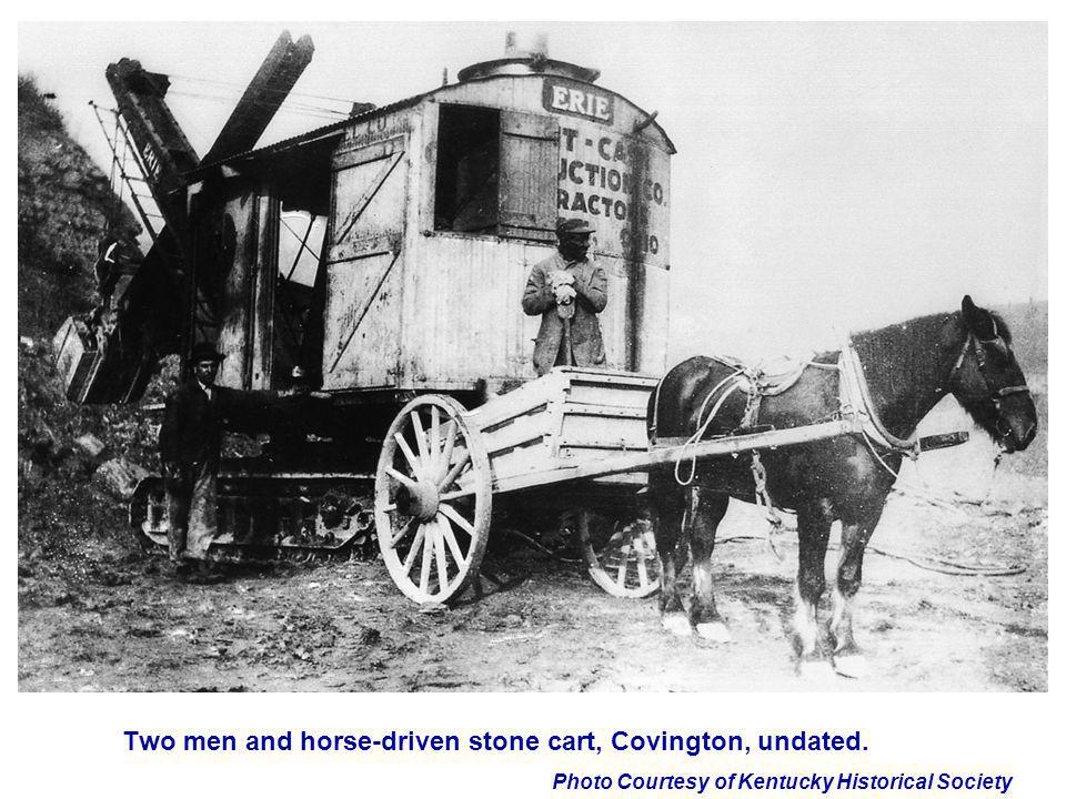 Two men and horse-driven stone cart, Covington, undated.