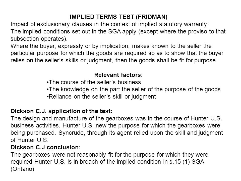 IMPLIED TERMS TEST (FRIDMAN)