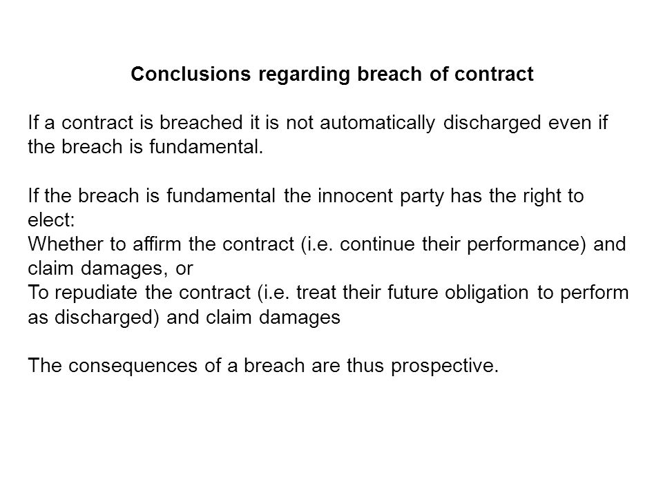 Conclusions regarding breach of contract