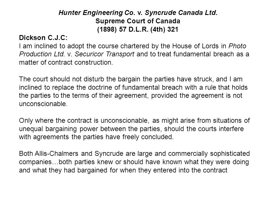 Hunter Engineering Co. v. Syncrude Canada Ltd. Supreme Court of Canada