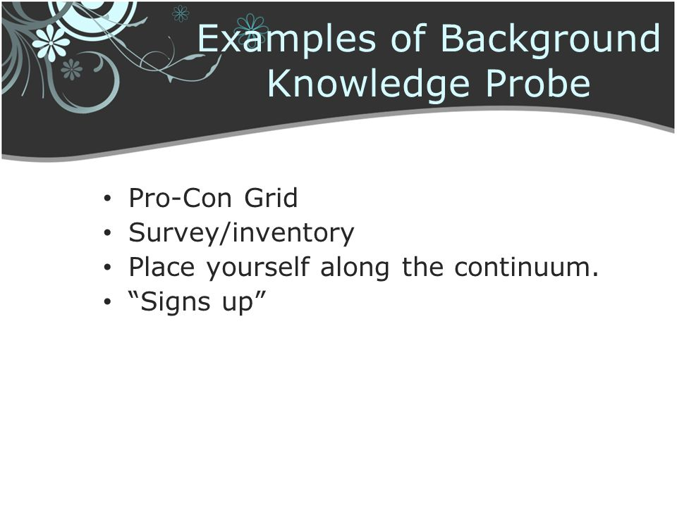 Examples of Background Knowledge Probe