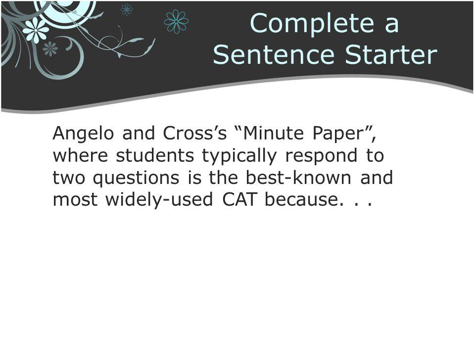 Complete a Sentence Starter