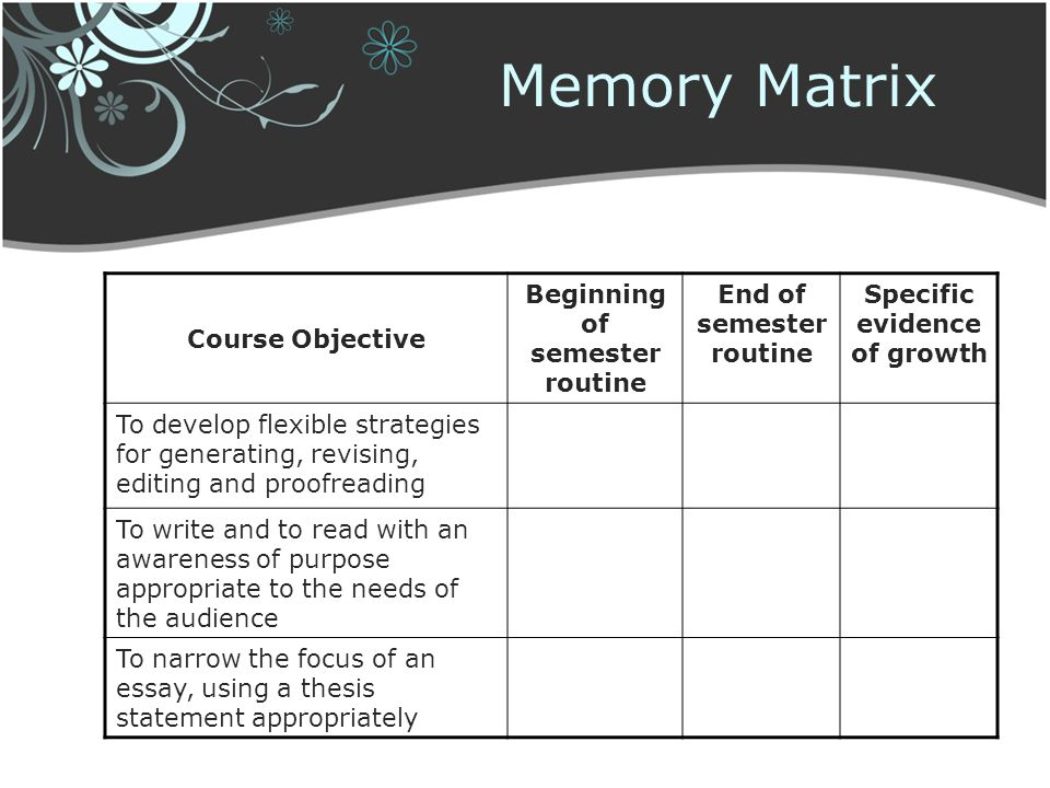 Memory Matrix Course Objective Beginning of semester routine