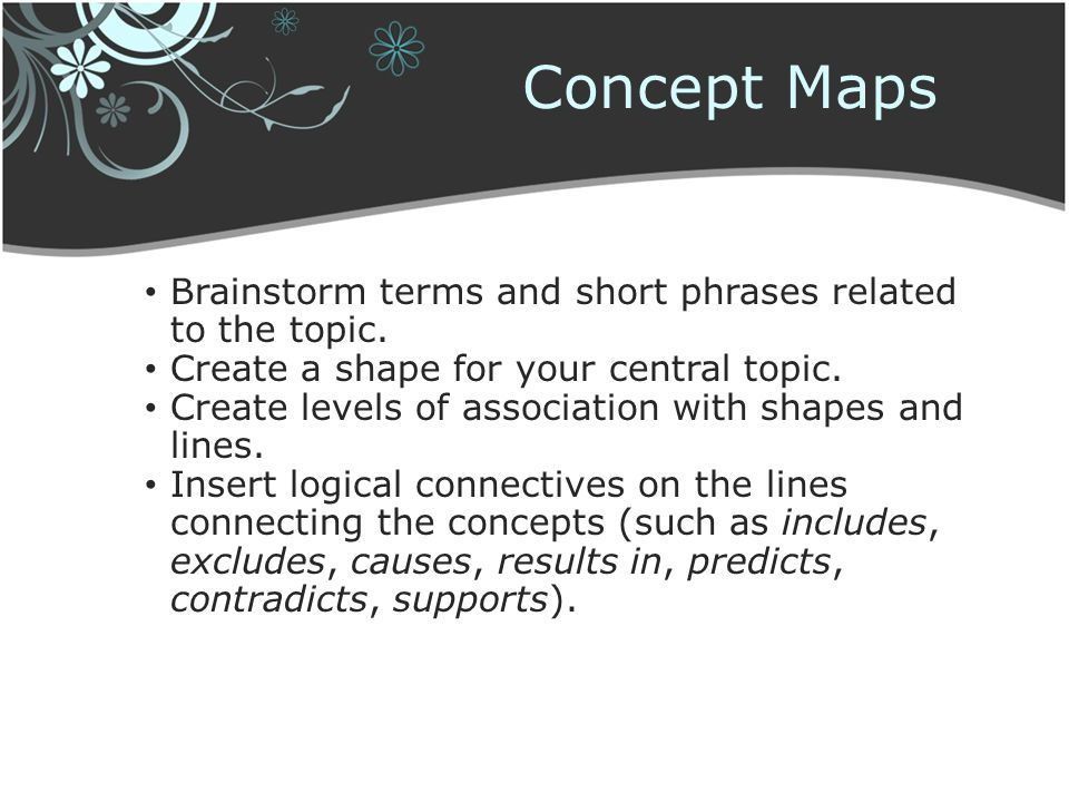 Concept Maps Brainstorm terms and short phrases related to the topic.