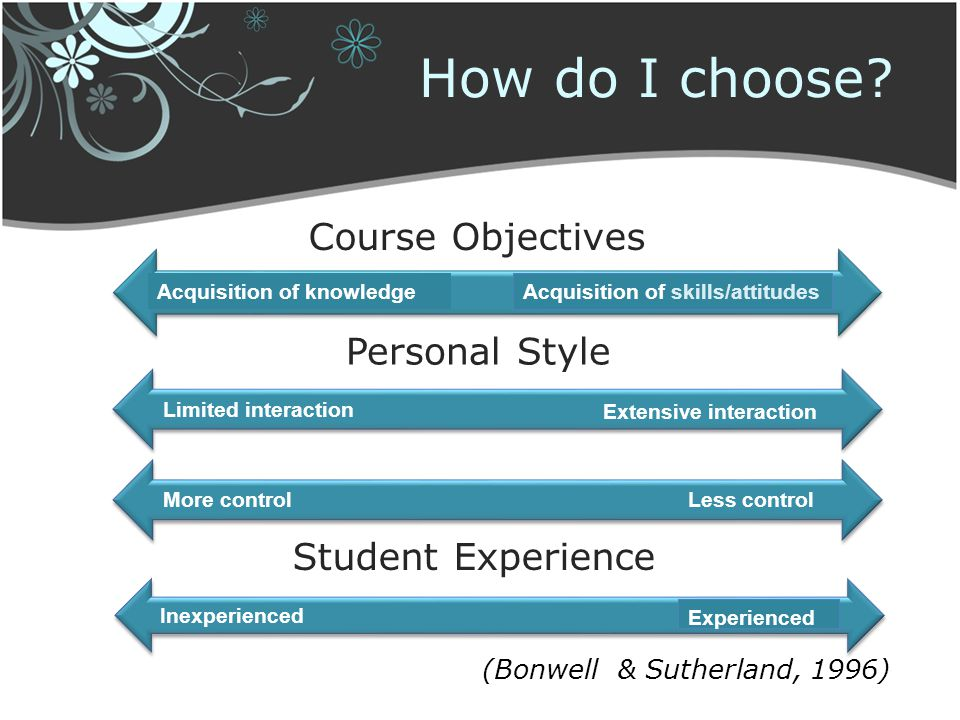 How do I choose Course Objectives Personal Style Student Experience
