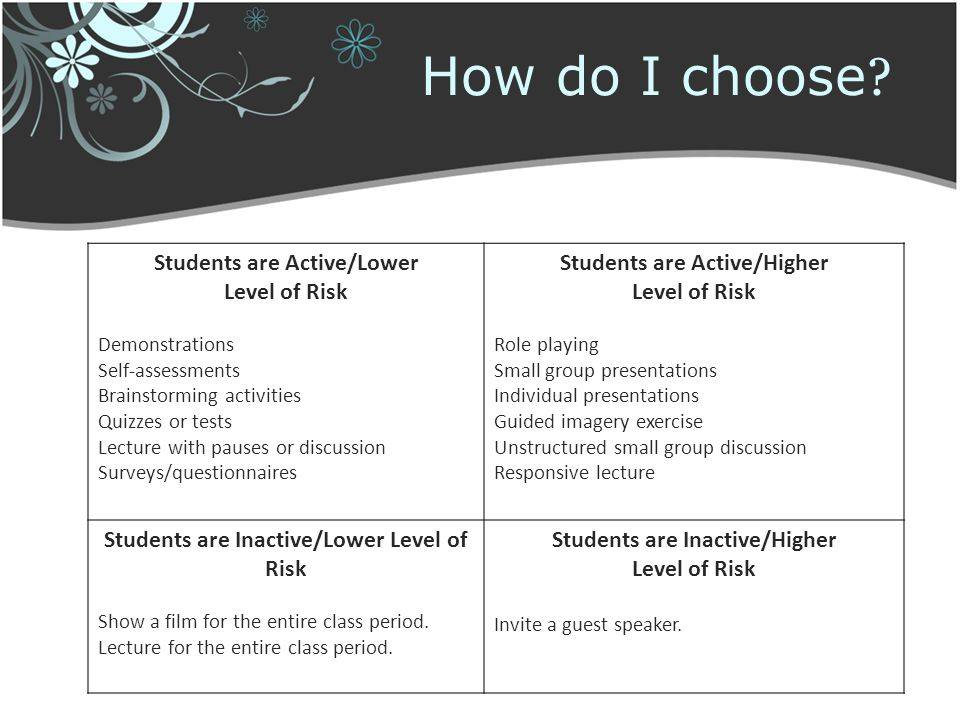How do I choose Students are Active/Lower Level of Risk