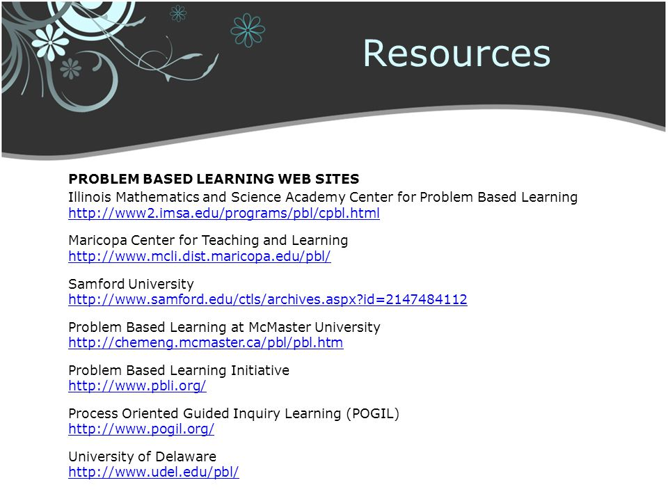Resources Problem Based Learning web sites