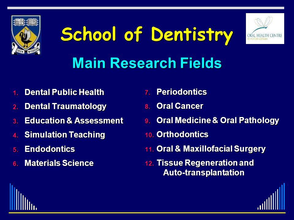 School of Dentistry Main Research Fields Dental Public Health