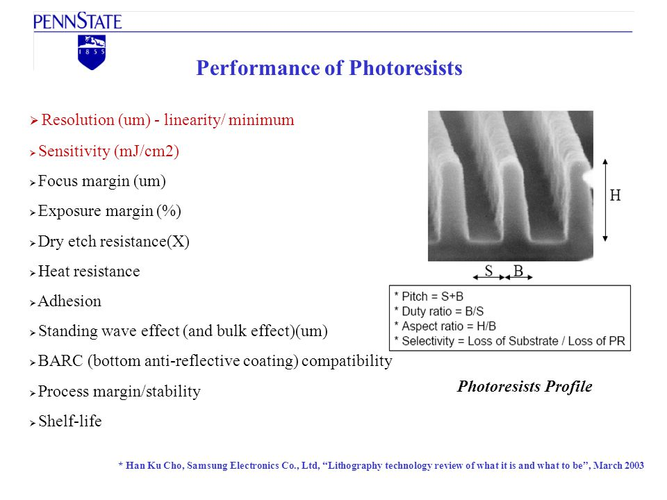 Performance of Photoresists
