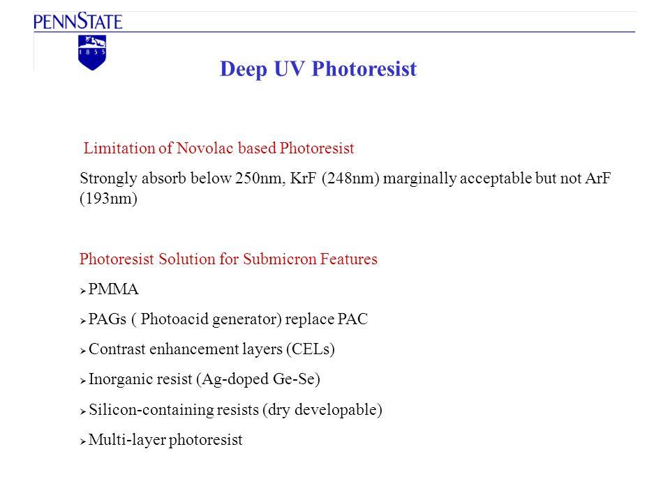 Deep UV Photoresist Limitation of Novolac based Photoresist