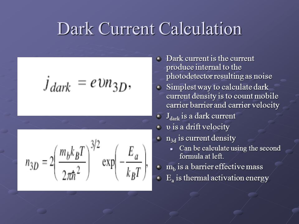 Dark Current Calculation