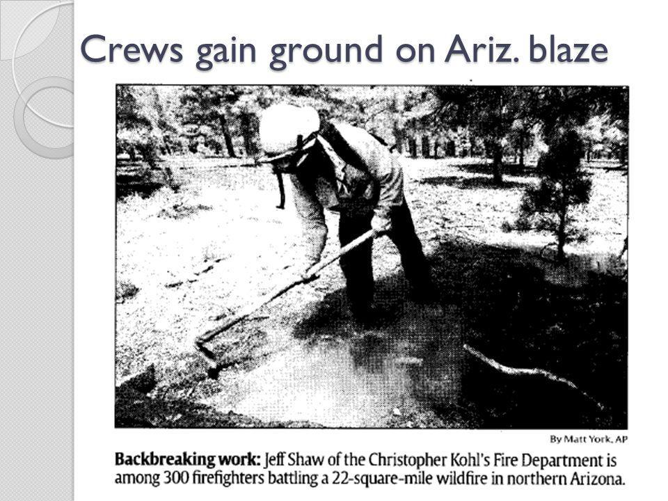 Crews gain ground on Ariz. blaze