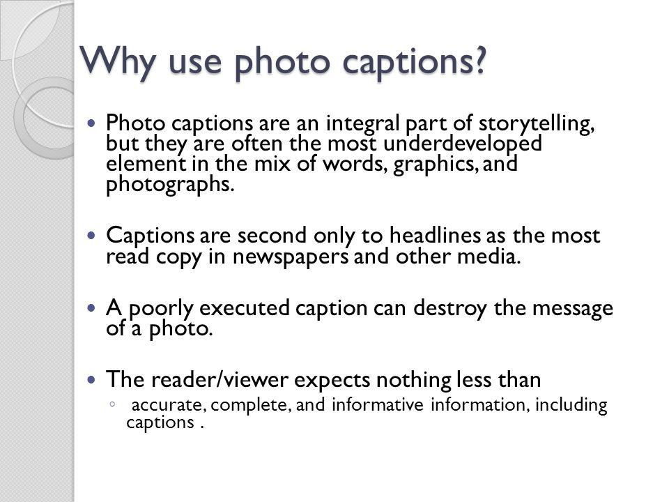 Why use photo captions