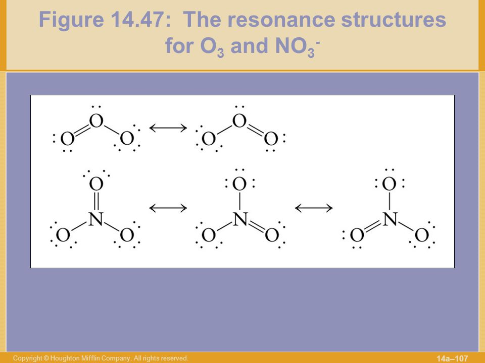 Figure 14.47: The resonance structures for O3 and NO3-