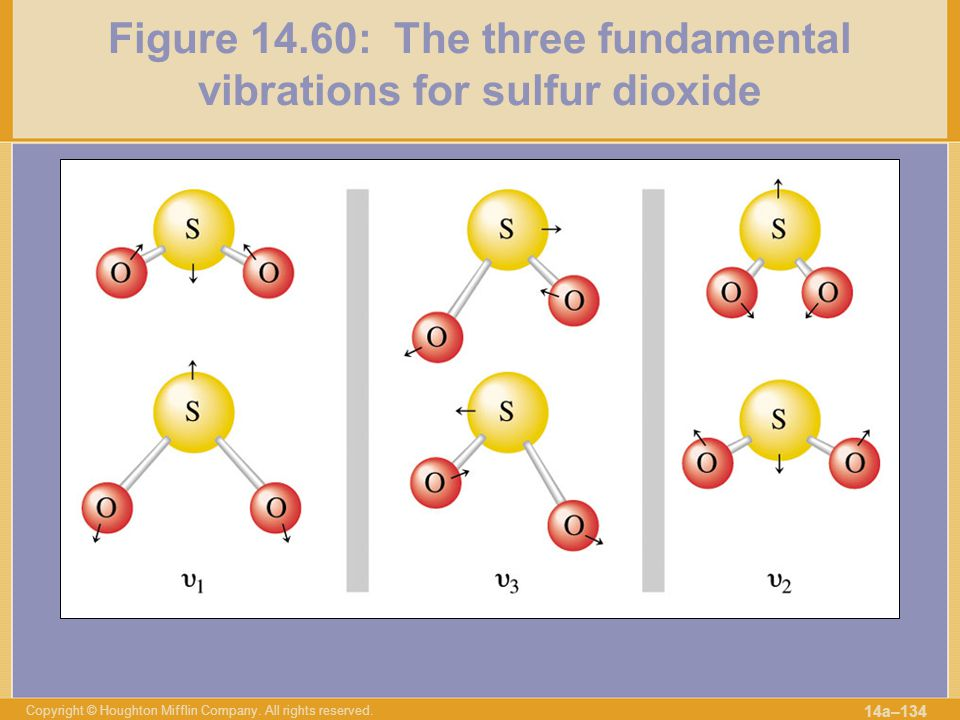 Figure 14.60: The three fundamental vibrations for sulfur dioxide