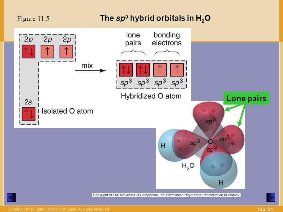 The sp3 hybrid orbitals in H2O