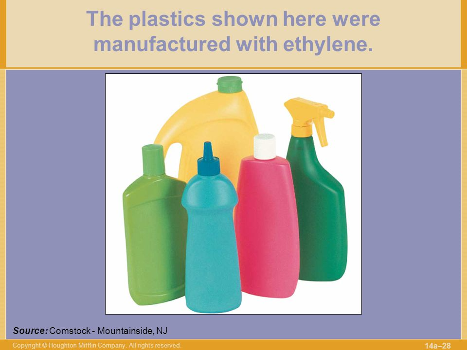 The plastics shown here were manufactured with ethylene.