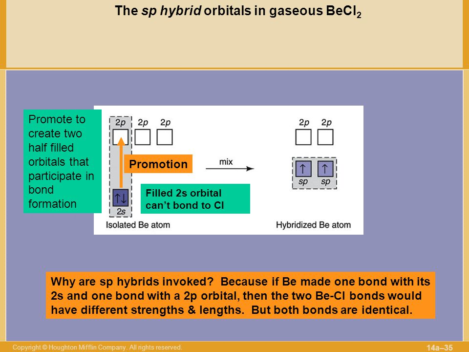 The sp hybrid orbitals in gaseous BeCl2