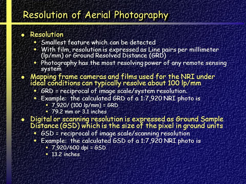 Resolution of Aerial Photography