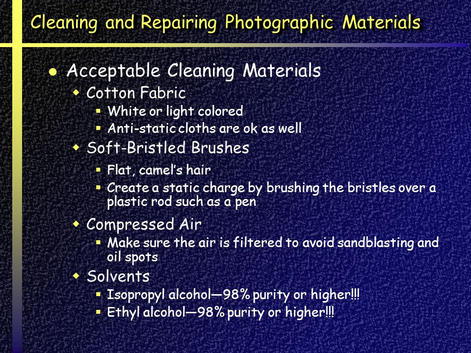 Cleaning and Repairing Photographic Materials