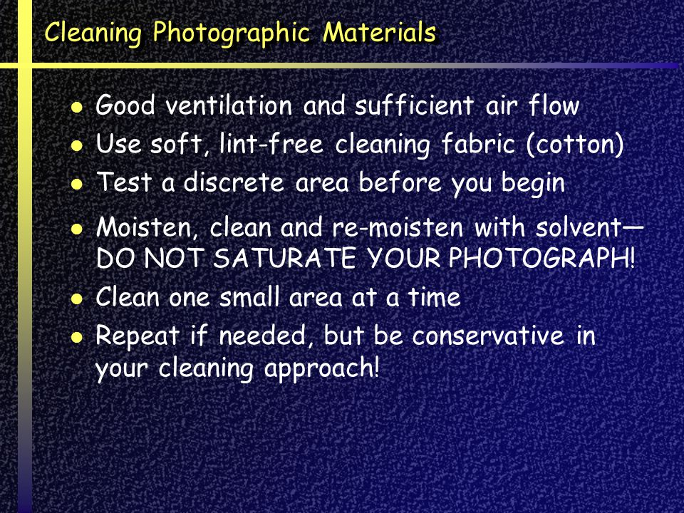 Cleaning Photographic Materials