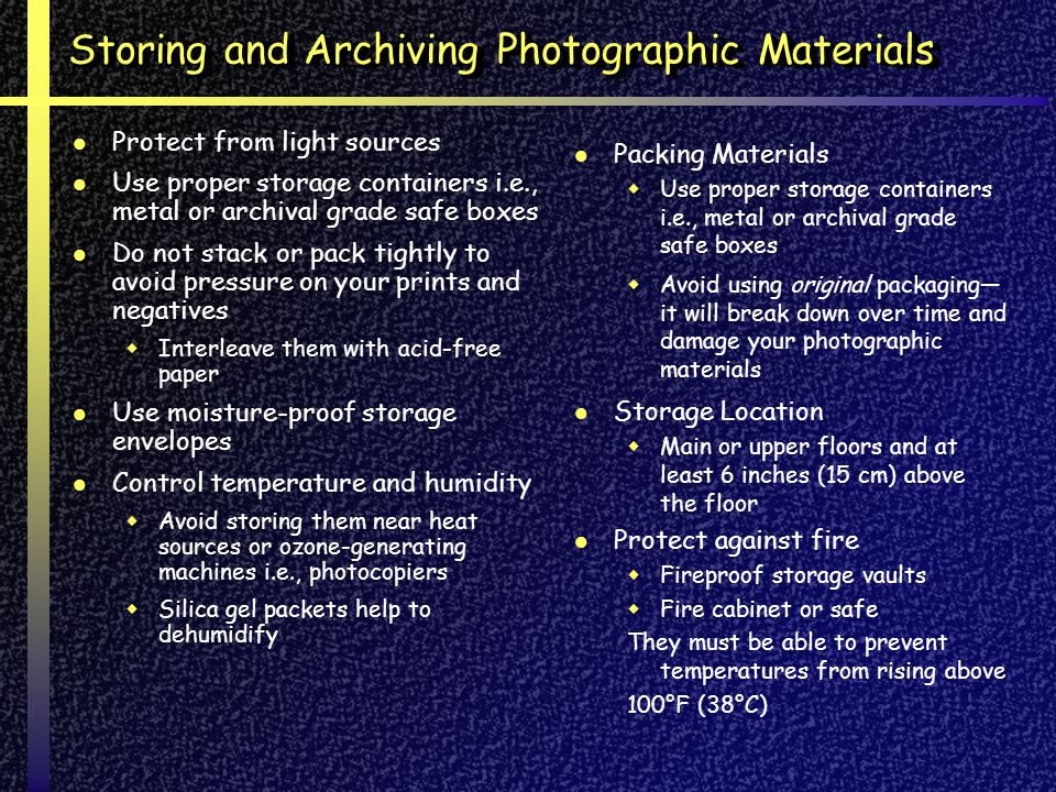 Storing and Archiving Photographic Materials