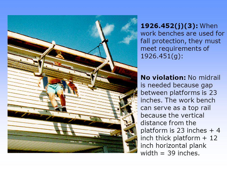 1926.452(j)(3): When work benches are used for fall protection, they must meet requirements of 1926.451(g):