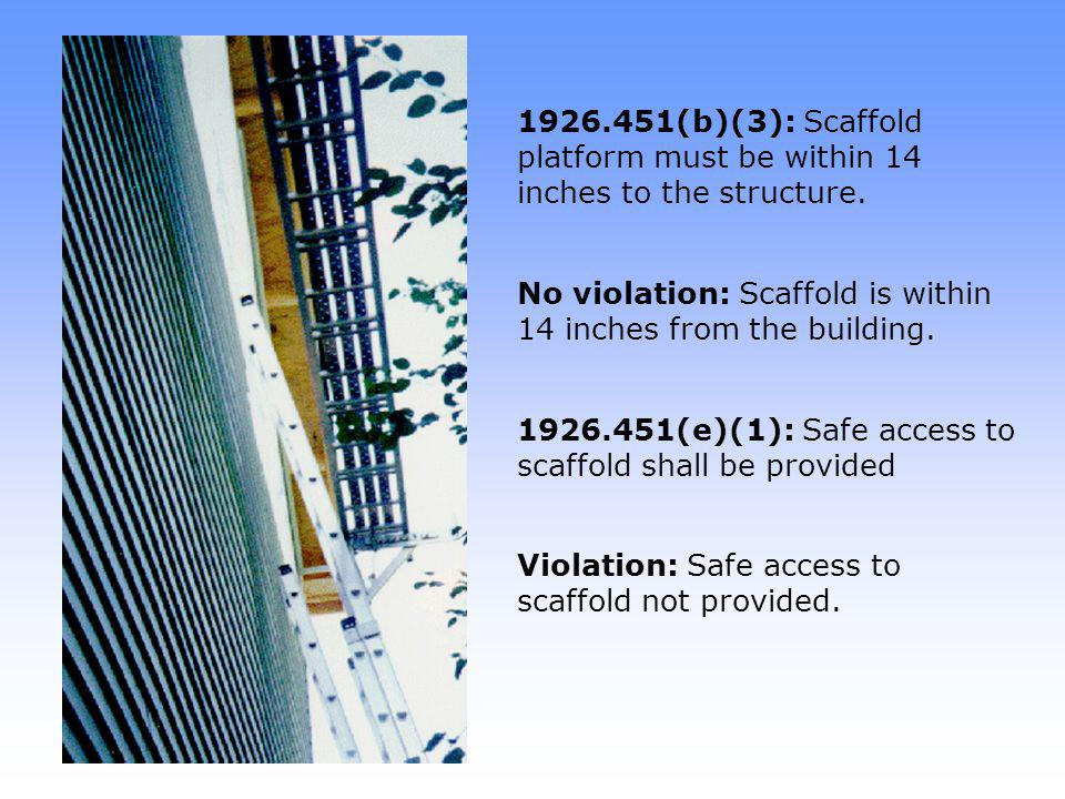 No violation: Scaffold is within 14 inches from the building.
