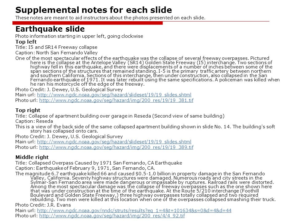 Supplemental notes for each slide These notes are meant to aid instructors about the photos presented on each slide.