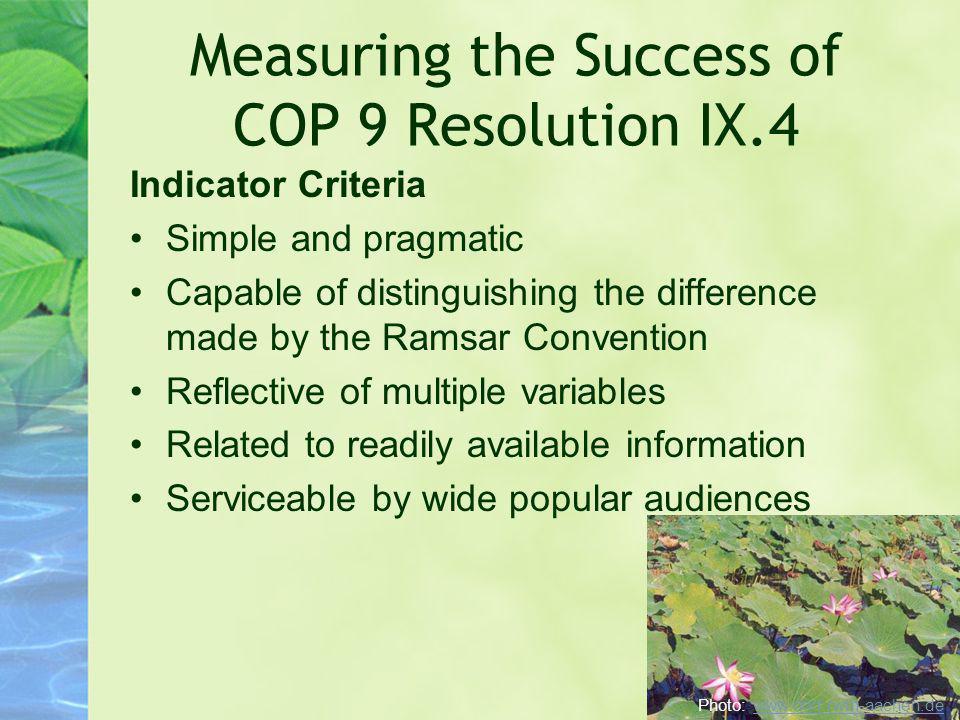Measuring the Success of COP 9 Resolution IX.4