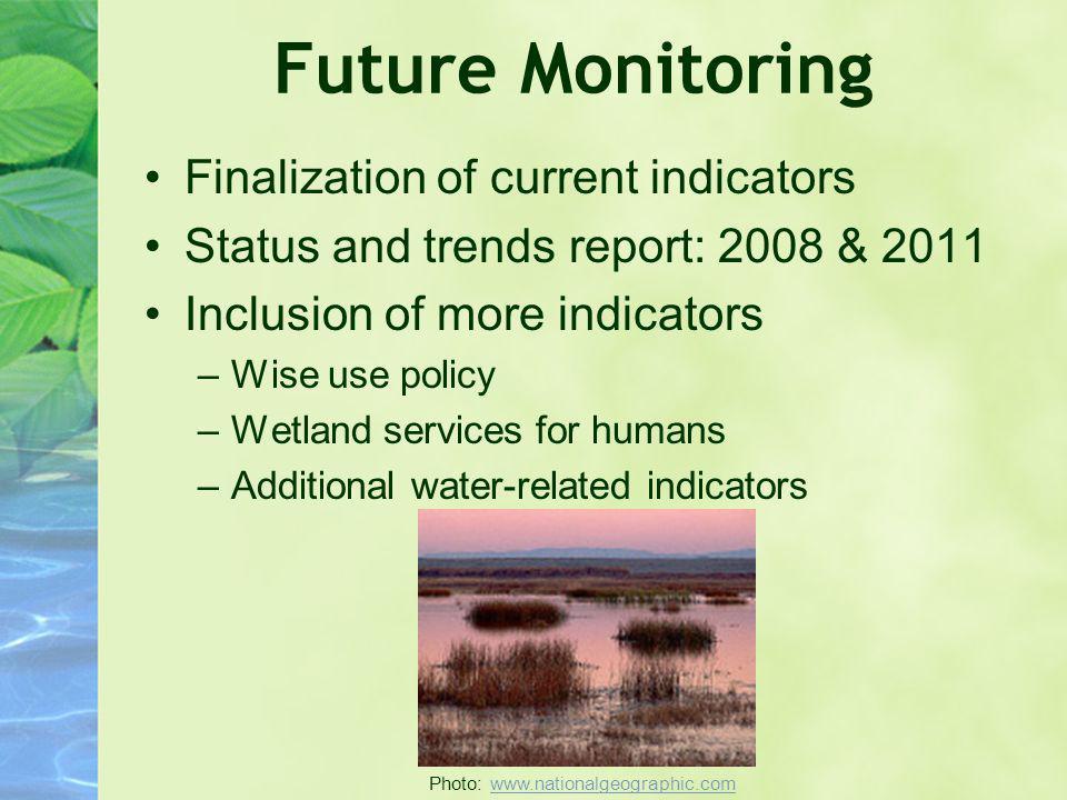 Future Monitoring Finalization of current indicators