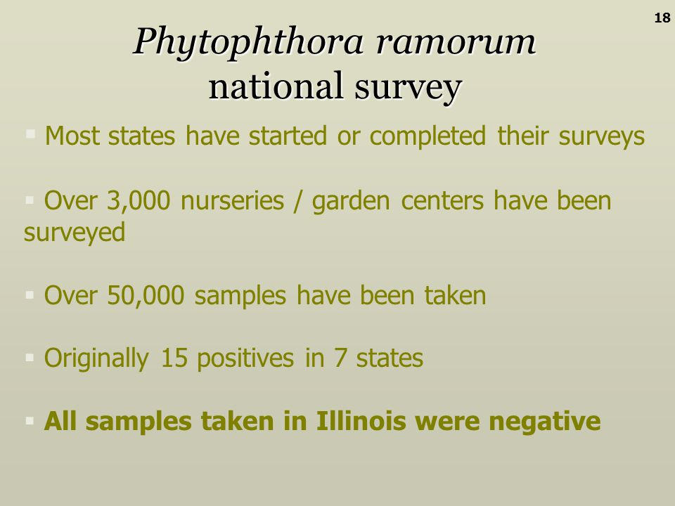 Phytophthora ramorum national survey