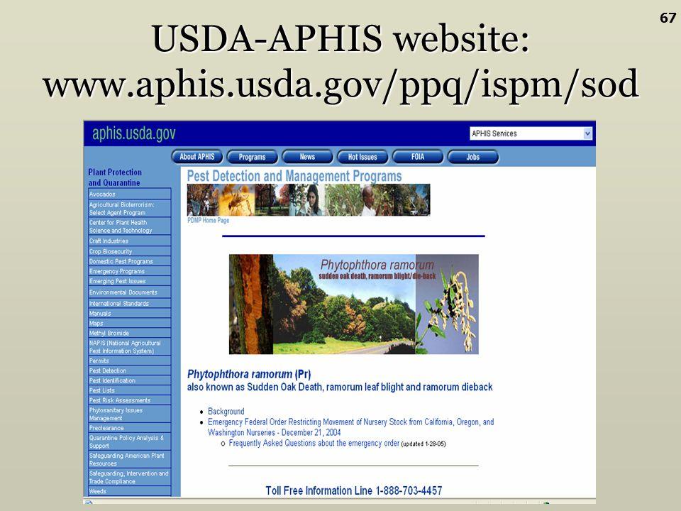 USDA-APHIS website: www.aphis.usda.gov/ppq/ispm/sod