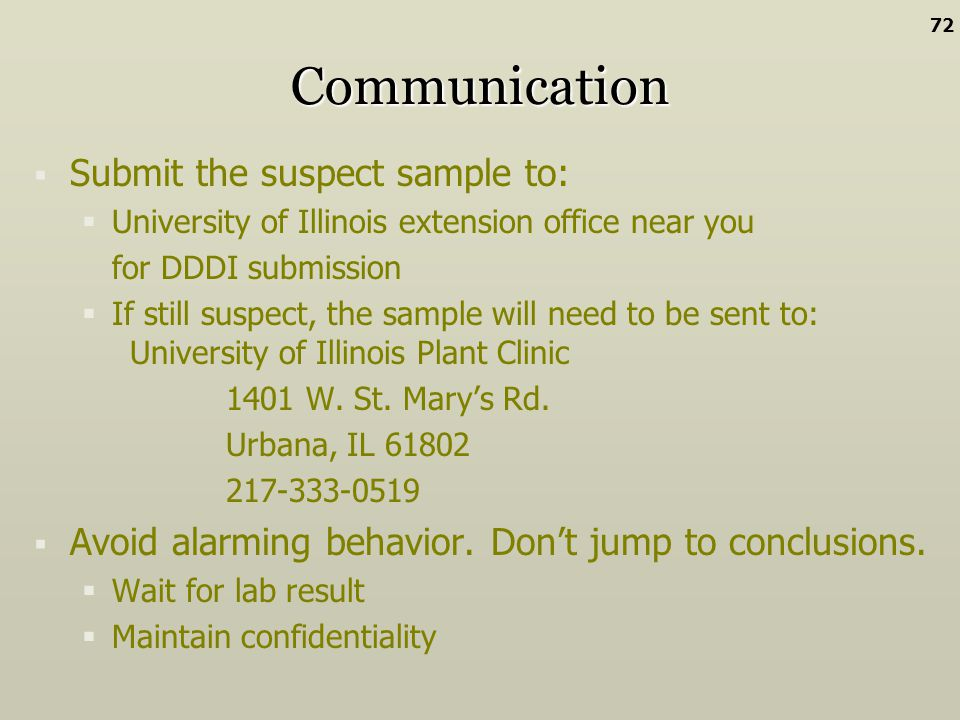 Communication Submit the suspect sample to: