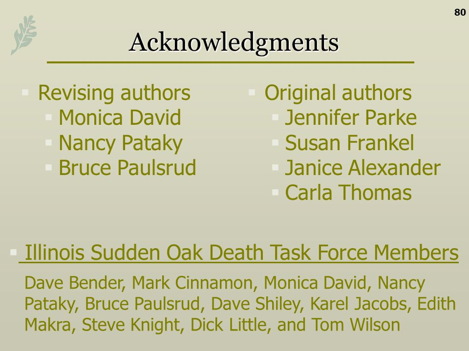 Acknowledgments Revising authors Monica David Nancy Pataky