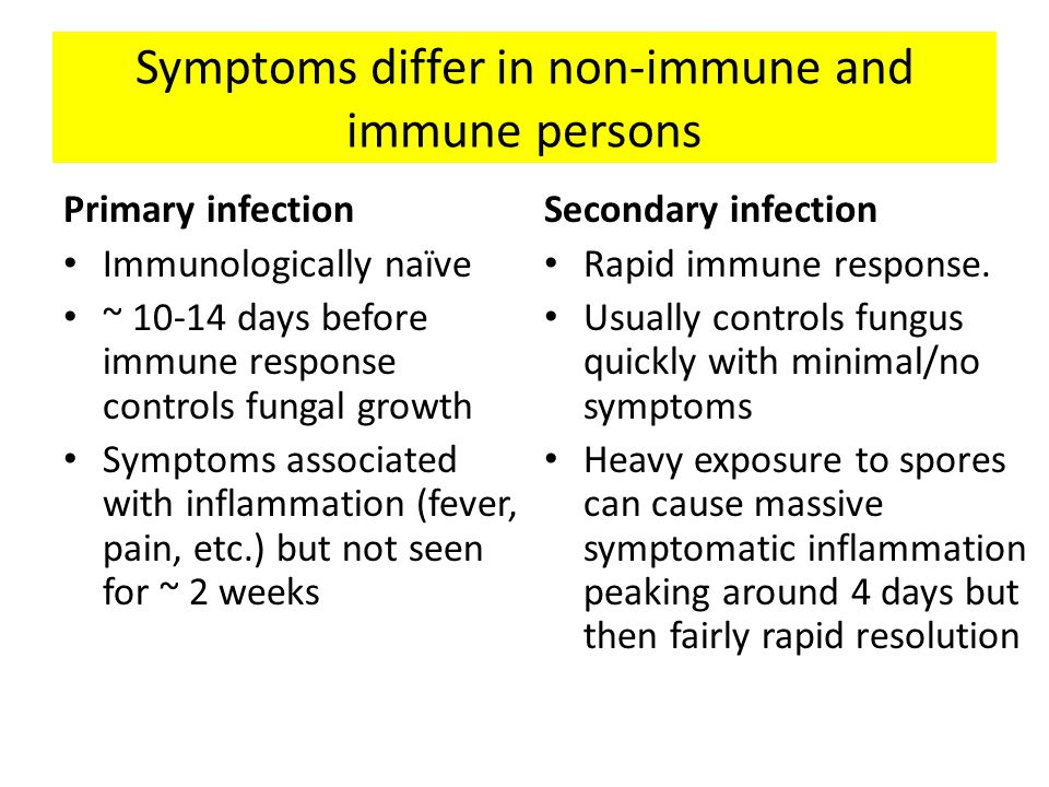 Symptoms differ in non-immune and immune persons