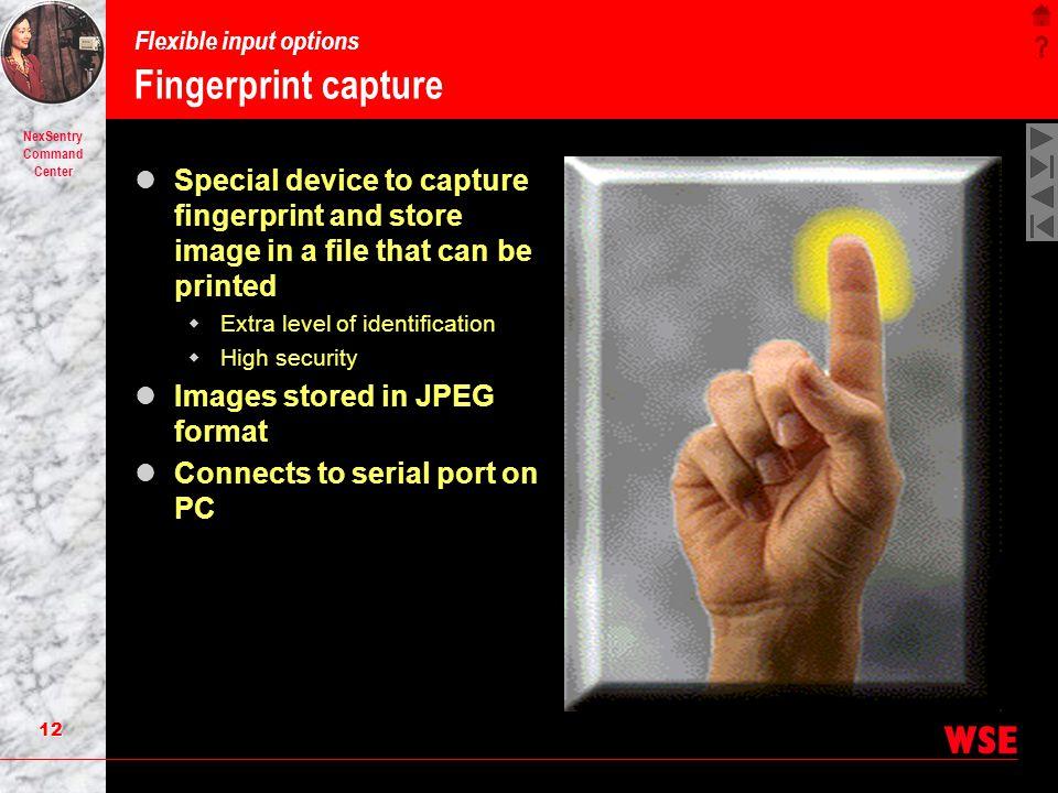 Flexible input options Fingerprint capture