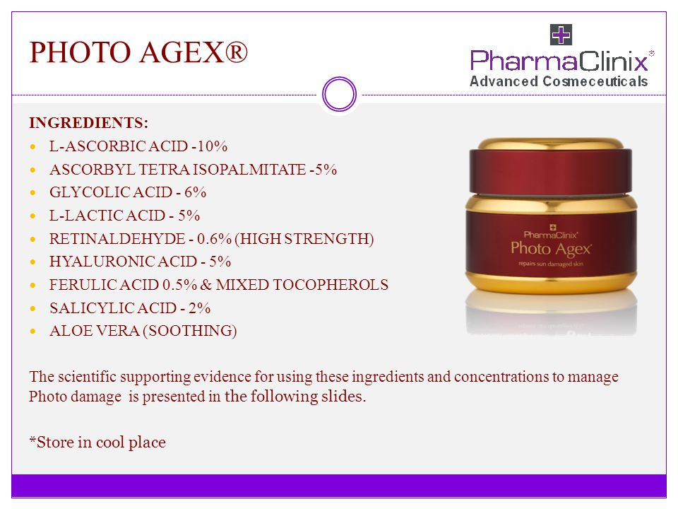 PHOTO AGEX® INGREDIENTS: L-ASCORBIC ACID -10%