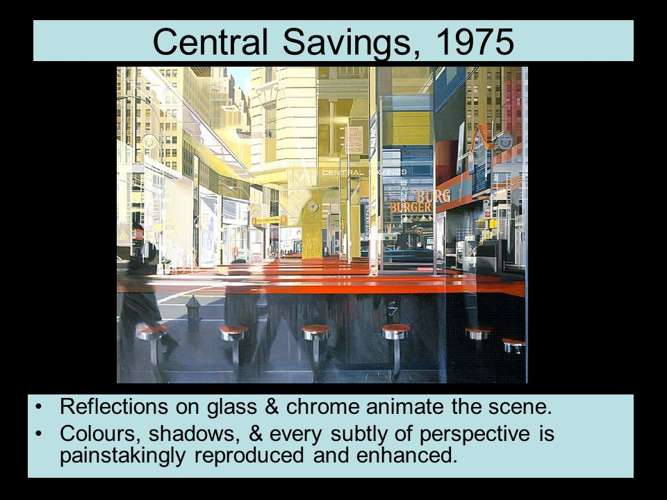 Central Savings, 1975 Reflections on glass & chrome animate the scene.
