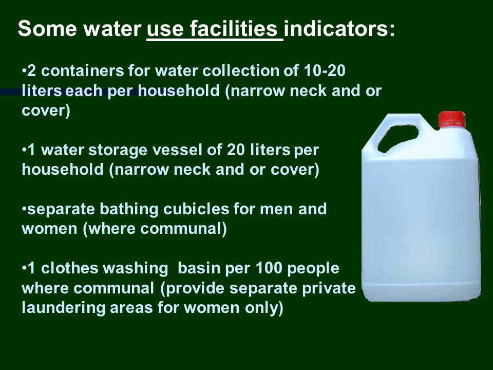 Some water use facilities indicators: