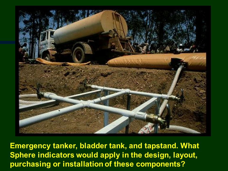 Emergency tanker, bladder tank, and tapstand