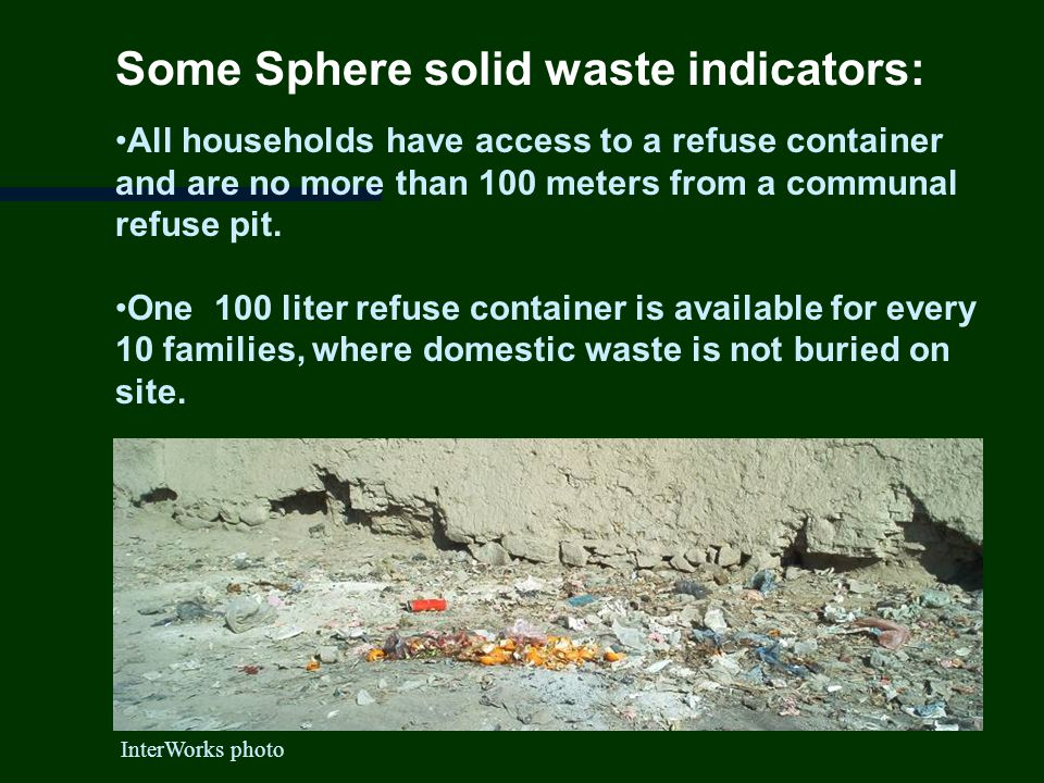 Some Sphere solid waste indicators: