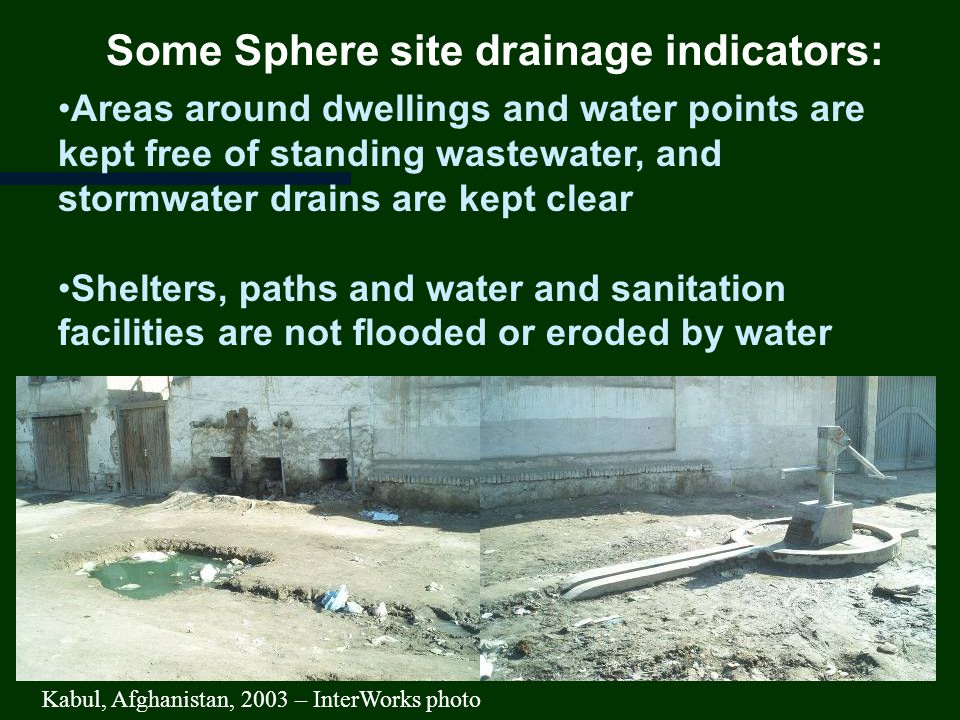 Some Sphere site drainage indicators: